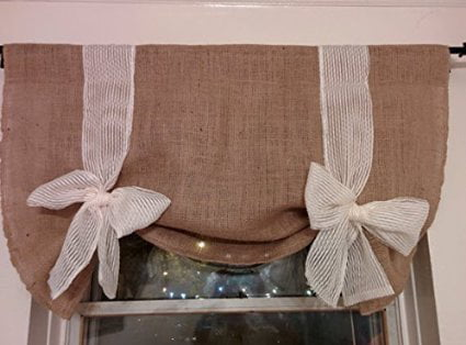 Km Curtains Handmade Tie up Valance Window Treatment (Valance) Burlap Tie up Valance... by KM CURTAINS