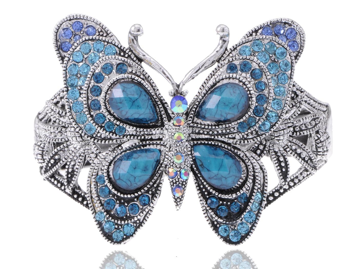 Pretty Blue Faux Turquoise Swarovski Elements Butterfly Cuff Bangle Bracelet by