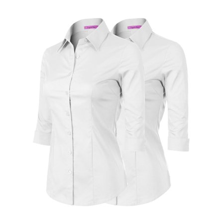 Made by Olivia Women's 3/4 Sleeve Stretchy Button Down Collar Office Formal Casual Blouse Shirts Top 2PACK - White/White