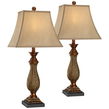 - Regency Hill Traditional Table Lamps Set of 2 Two Tone Gold Leaf Linen Rectangular Bell Shade for Living Room Family Bedroom