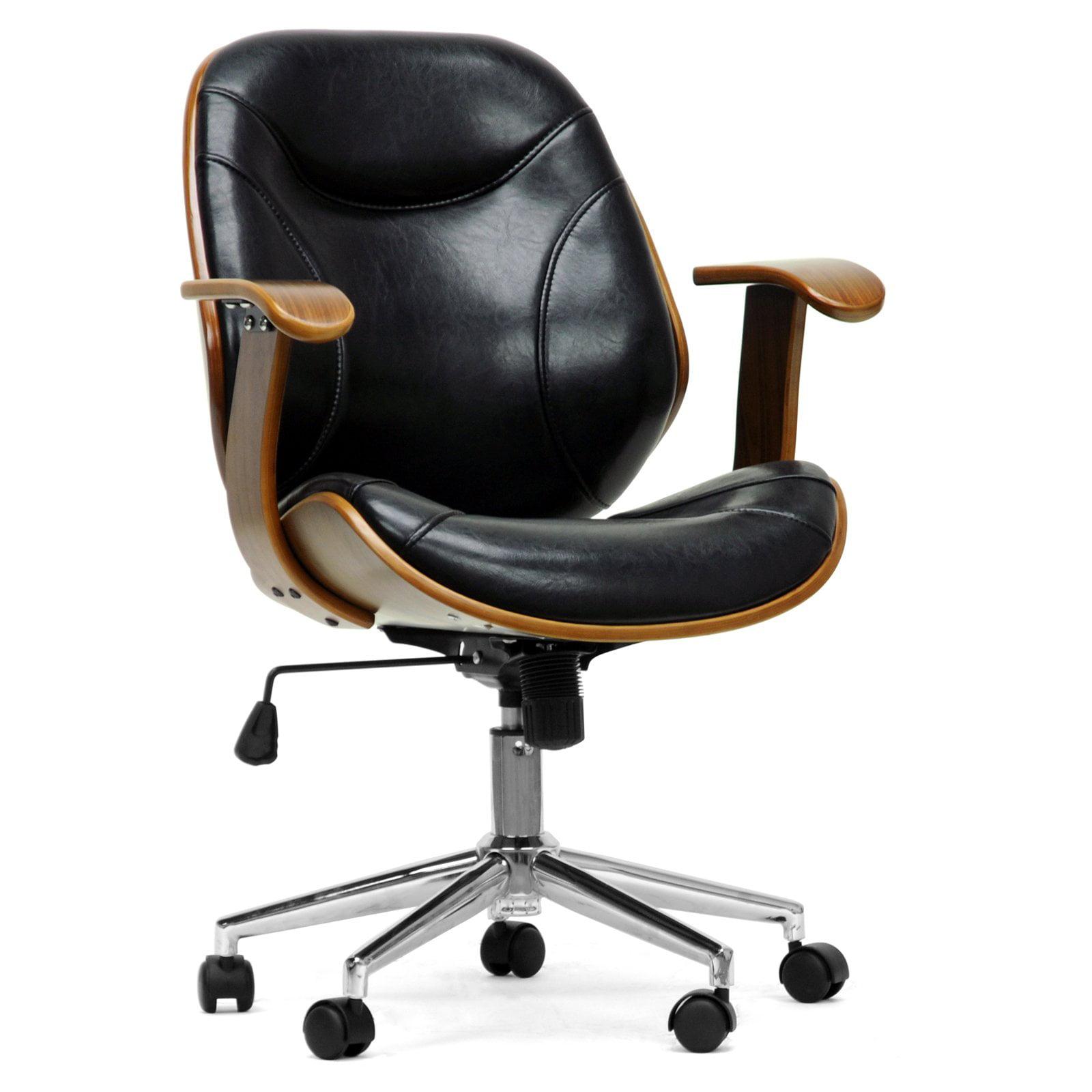 Miraculous Baxton Studio Rathburn Modern Office Chair Walnut Black Interior Design Ideas Gentotryabchikinfo