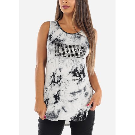 Womens Juniors Cute Casual Summer Everyday Stretchy Sleeveless Grey Tie Dye Love Rhinestone Long Tunic Tank Top 40233R