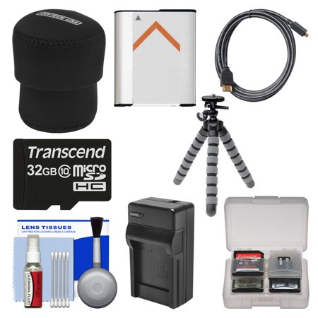 Essentials Bundle for Sony Cyber-Shot DSC-QX100 Smartphone Attachable Camera with 32GB + Case + NP-BN1 + HDMI Cable
