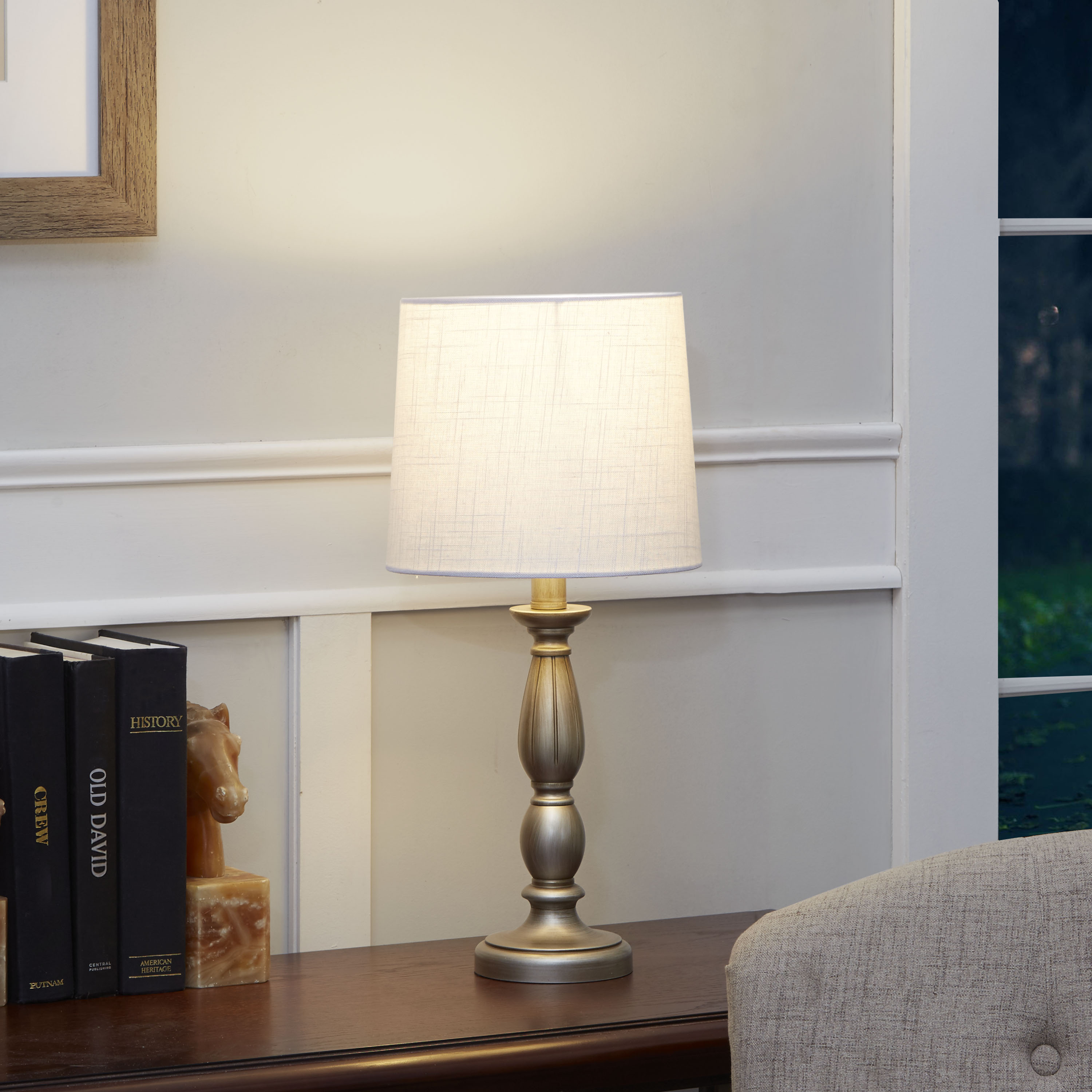 Mainstays Antique Silver Turned Resin Table Lamp