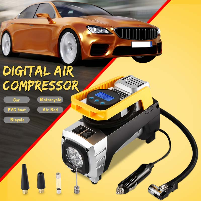 2 Cylinder 12V 150PSI Car Motorcycle Tyre Air Compressor Pump Auto Tire Inflator