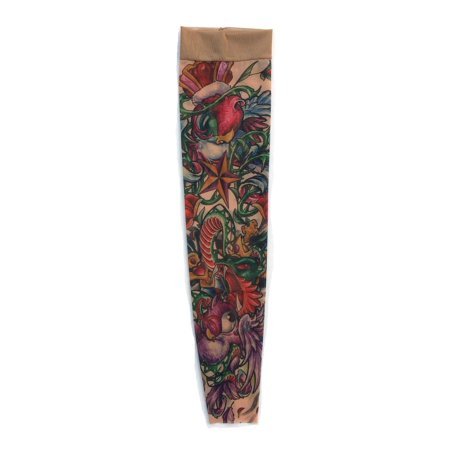 Wild Rose Unisex Single Tattoo Sleeve Cobra Snake Sparrow Bird, Bite Me, Tan - Tattoos Birds