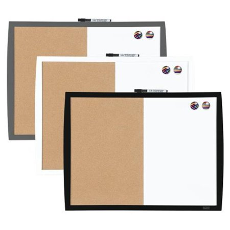 Quartet 41723 17 X 23 Plastic Frame Magnetic Combo Board With Curved