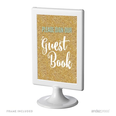 Aqua Brass Gold Mirror (Signature Light Aqua, White, Gold Glittering Party, Framed Party Sign, Please Sign Our Guestbook, 4x6-inch Double-Sided )