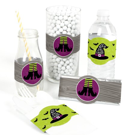 Happy Halloween - DIY Party Supplies - Witch Party DIY Wrapper Favors & Decorations - Set of 15