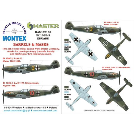 Montex KAM 1:32 Bf-109 E-3 #2 for Eduard Mask + Metal Part #KAM32162