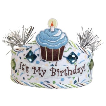 Stephan Baby Birthday Boy Adjustable Cupcake Crown with Glitter and Jewel Embellishments, Blue/Whit
