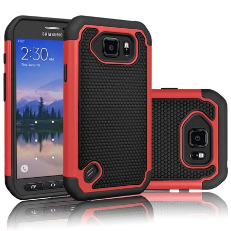 Galaxy S6 Active Case, Tekcoo(TM) [Tmajor Series] Shock Absorbing Hybrid Rubber Plastic Impact Defender Rugged Slim Hard Case Cover Shell For Samsung Galaxy S6 Active AT&T SM-G890