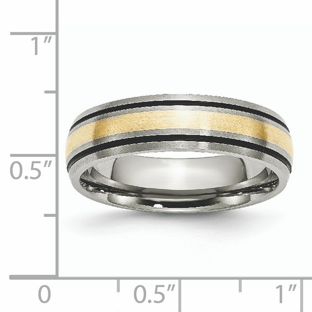 Titanium 14k Gold Inlay 6mm Brushed Band Best Quality Free Gift Box
