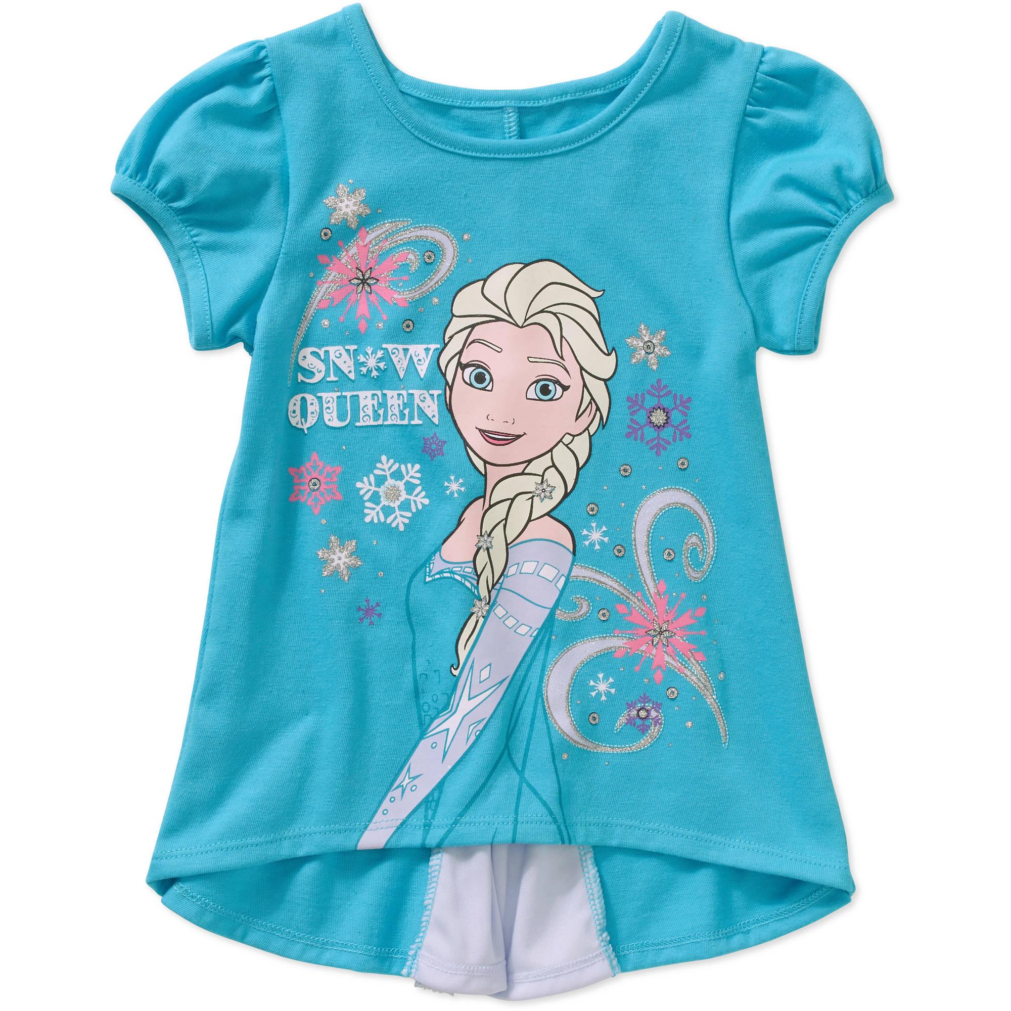 Disney Frozen Toddler Girl Bow Back Graphic Tee Shirt