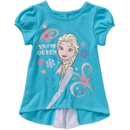 Disney Frozen Toddler Girl Bow Back Graphic Tee Shirt