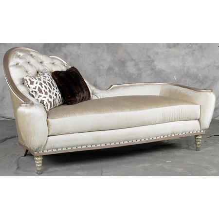 Benetti' Sofia Luxury Antique Golden Pearl Chenille Chaise Lounge Special Order