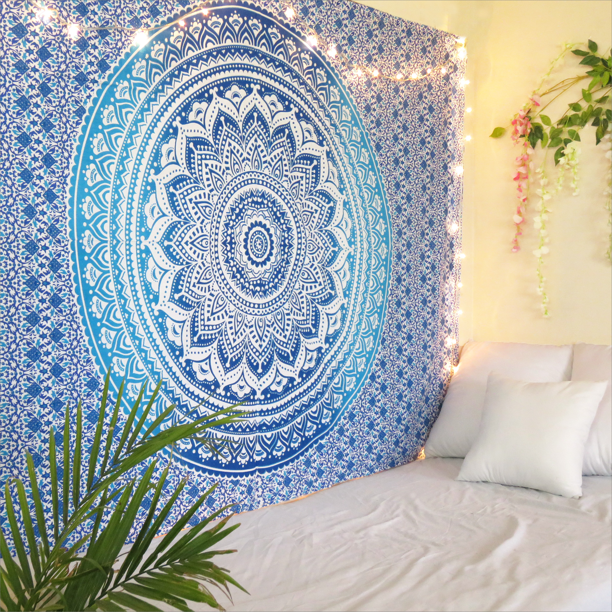 Blue Mandala Tapestry Round Yoga Mat Boho Beach Throw Blanket Wall Hanging Decor