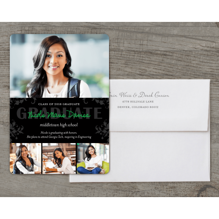 Personalized Graduation Invitation - Blooming Scroll - 5 x 7 Flat Deluxe