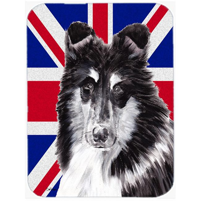 7.75 x 9.25 In. Collie With English Union Jack British Flag Mouse Pad, Hot Pad Or Trivet