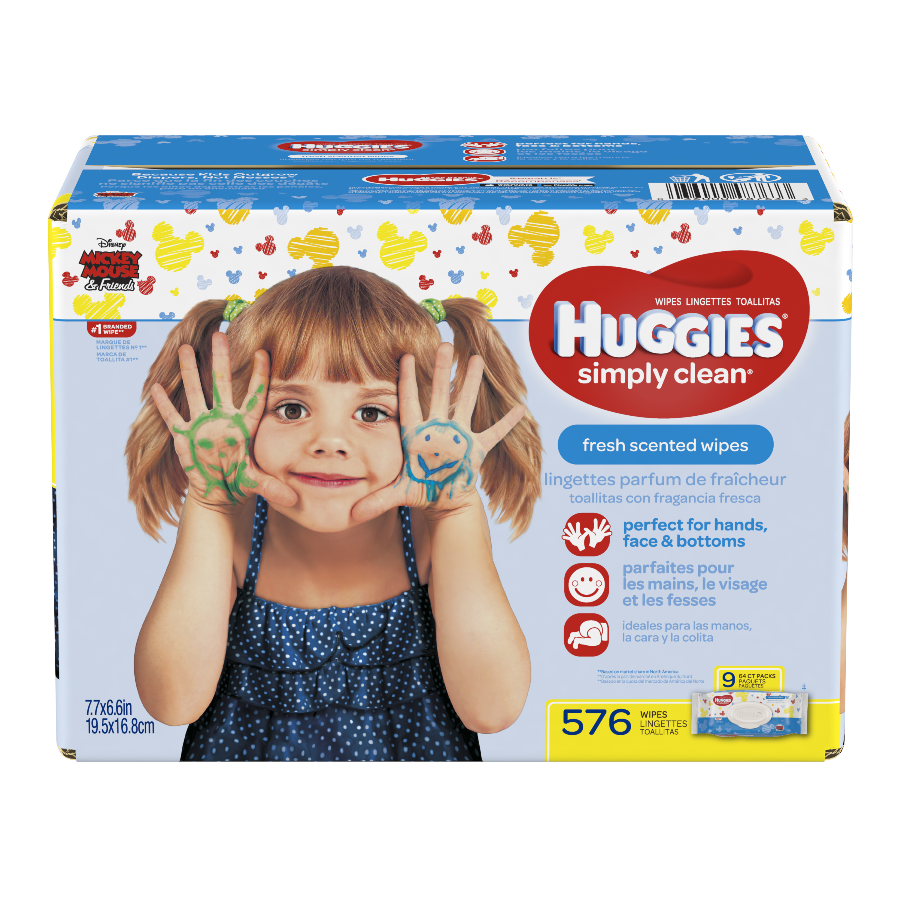 Huggies Simply Clean Baby Wipes, Fresh Scent, 9 packs of 64 (576 count)