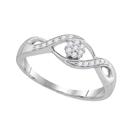 Cluster Twist - Size 7 - 10k White Gold Round Diamond Twist Flower Cluster Ring 1/8 Cttw