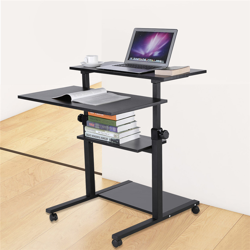Yosoo Wooden Mobile Standing Computer Work Station Desk Adjustable Height Rolling Presentation Cart Office Home Use