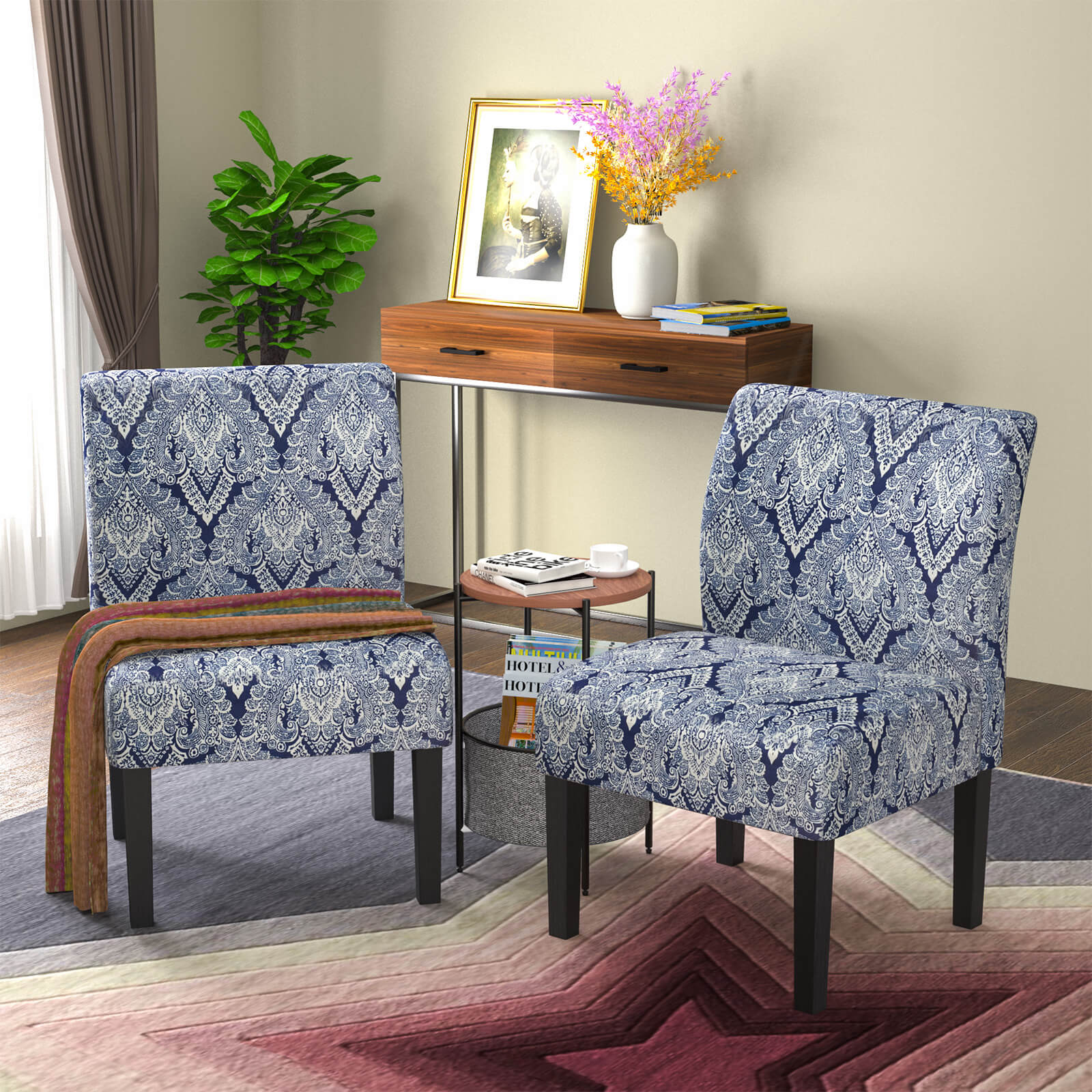 Picture of: Mecor Modern Armless Accent Chairs Set Of 2 Upholstered Fabric Dining Chairs W Solid Wood Legs For Dining Living Room Sofa Sapphire Walmart Com Walmart Com