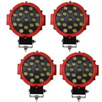 """LED Lights Bar 4Pcs 7"""" 51W Spot Round Off Road Fog lights with Mounting Bracket For SUV Boat Jeep Lamp,Red Color,2 Years Warranty"""