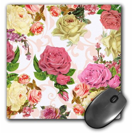3dRose Vintage pink and white roses - Flowers with peach swirls - pretty antique floral pattern - Flowery, Mouse Pad, 8 by 8 inches