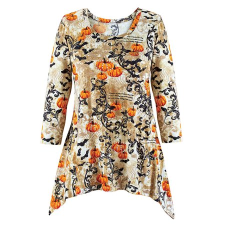 Women's Pumpkins and Bats Scroll Sharkbite Tunic Top, Halloween Shirt, Elegant, Medium, Grey (Kohl's Halloween Shirts Womens)