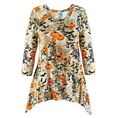 Women's Pumpkins and Bats Scroll Sharkbite Tunic Top, Halloween Shirt, Elegant, Medium, Grey Multi