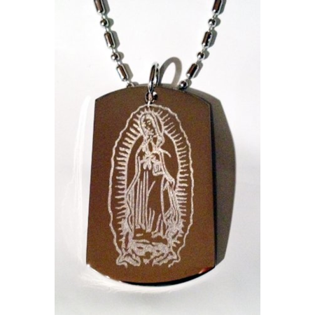 Praying Virgin Marry Mary Guadalupe Lord Diety Christ Christian Jesus Religion Religious Logo Symbols - Military Dog Tag Luggage Tag Key Chain Metal Chain Necklace (Dog Tag Necklaces)