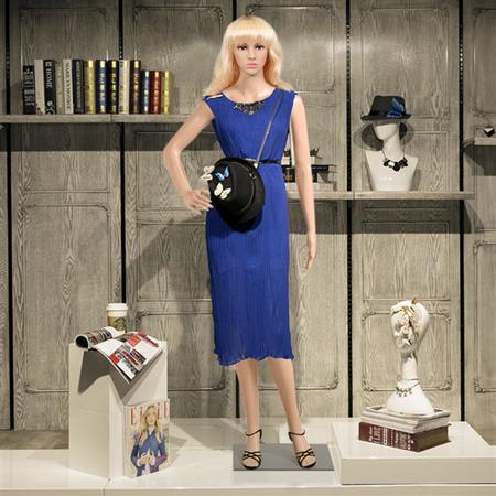 Yaheetech Adjustable Dressmaker Dummy Female Mannequin Display Head Turns Dress Form w/ Base, Nude