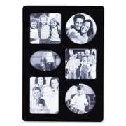 Black Wood Multi 6 Opening Picture Frame