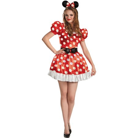 Womens  Red Disney Mickey Mouse Club Minnie Mouse Adult Costume - Adult Mickey Mouse Halloween Costume