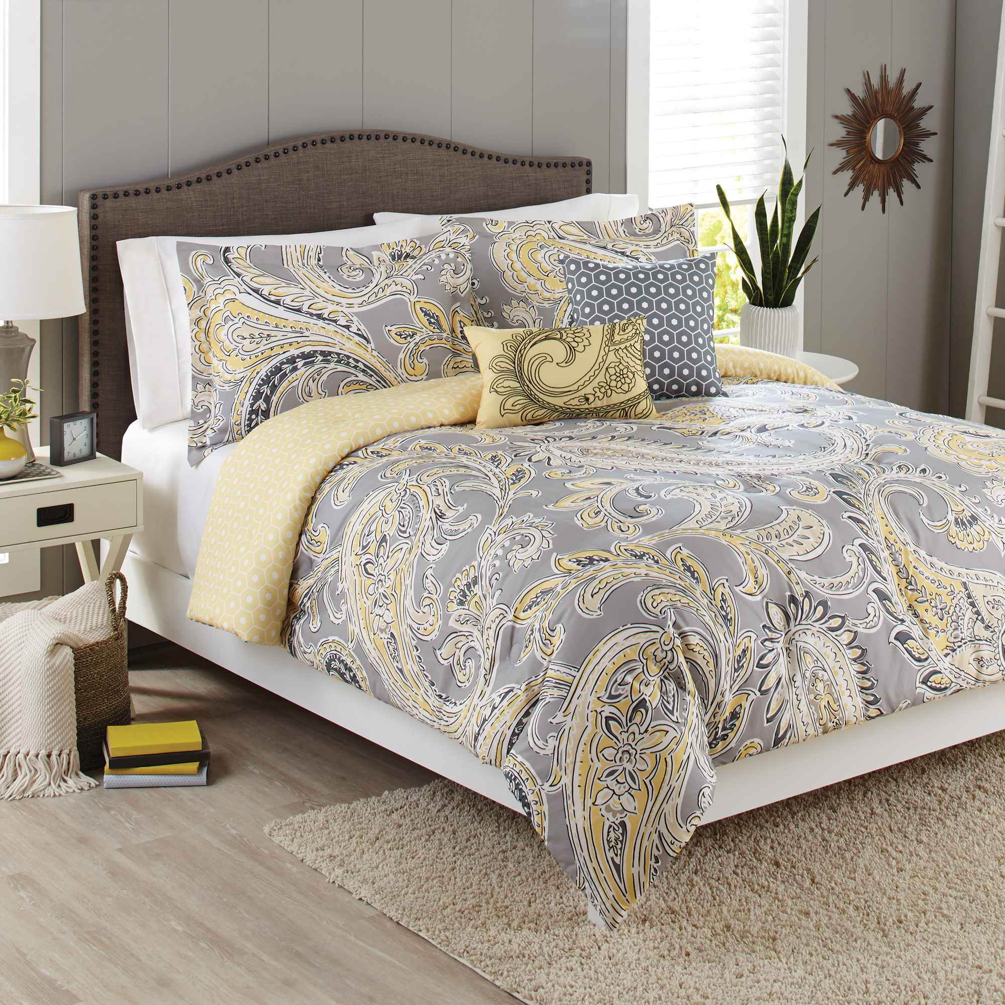 Better Homes & Gardens Full Paisley Yellow & Grey Comforter Set, 5 Piece