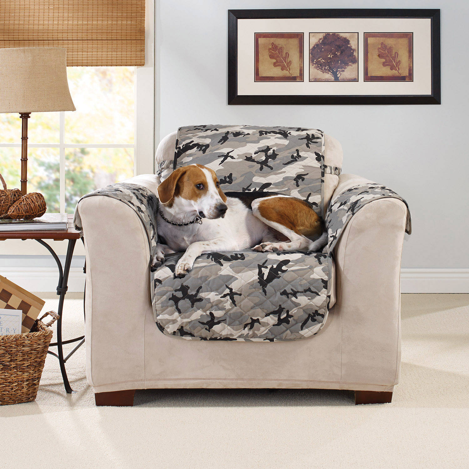 Sure Fit Camouflage Pet Chair Cover With Strap