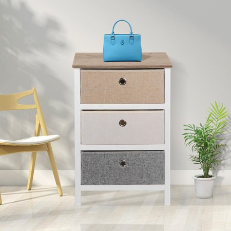 SortWise MDF End Table/Night Stand with Storage Bins, Removeable Storage Drawer Bedroom Organizer - image 8 of 10