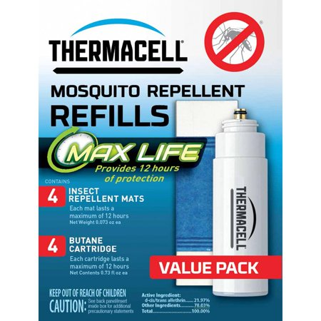 Thermacell L-4 Max Life Mosquito Repellent Refill w/ 4 Max Life Mats & 4 Butane Cartridges - Mosquito Repellent Refill