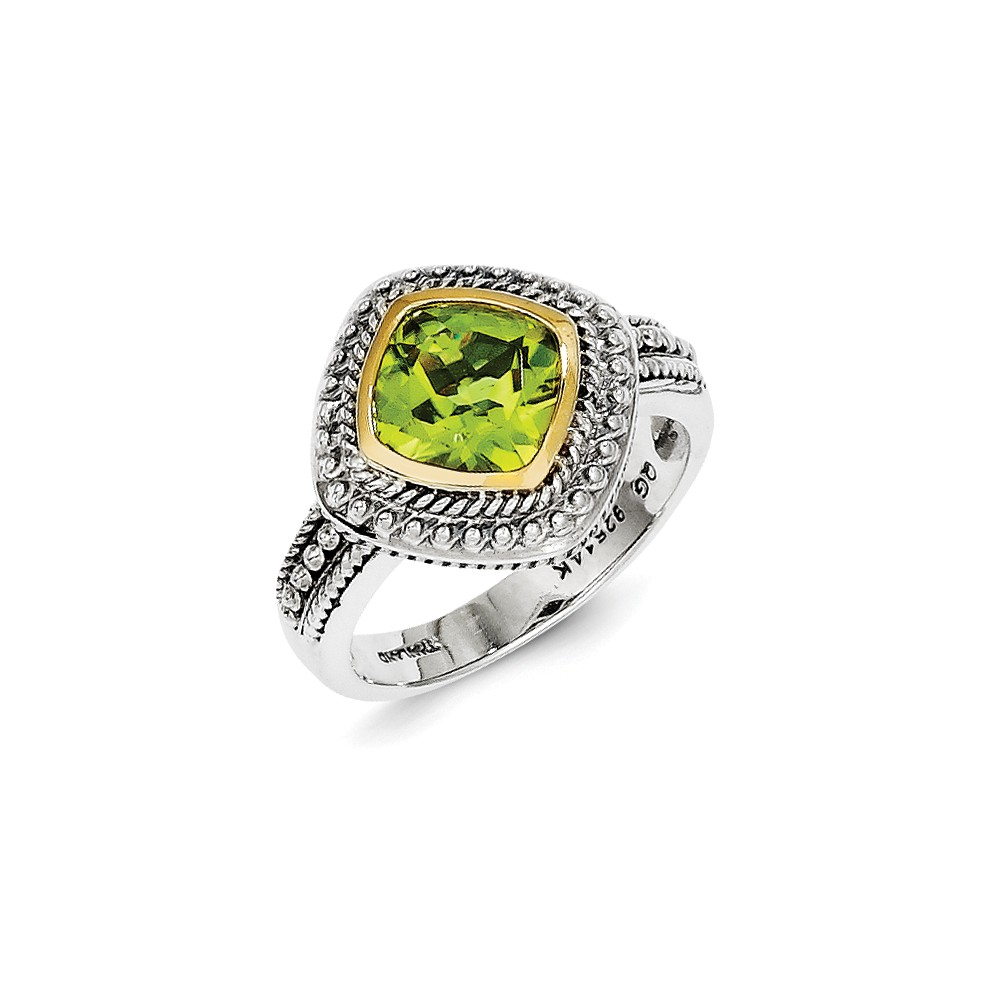 Sterling Silver Bezel Polished Antique finish With 14k Peridot Ring Ring Size: 6 to 8 by Jewelryweb