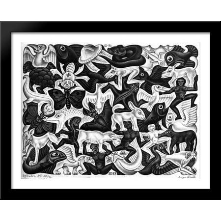 Mosaic I 36x28 Large Black Wood Framed Print Art by M.C. Escher (Wood Mosaic)