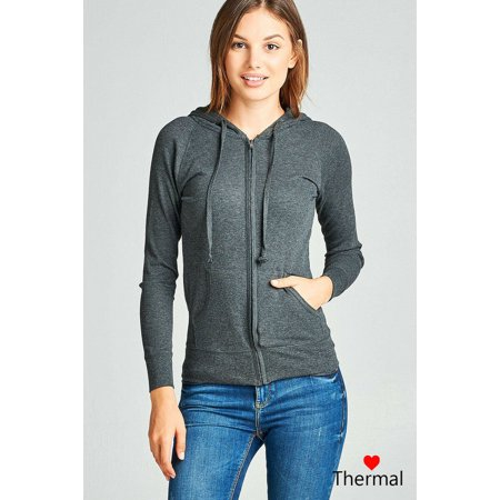 Women Basic Thermal Hoodie Jacket Waffle Knit Lightweight Zip Up w/ Drawstrings & Pockets ()