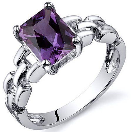 2 ct Radiant Cut Created Alexandrite Solitaire Ring in Sterling Silver 1/2 Ct Marquise Cut Ring