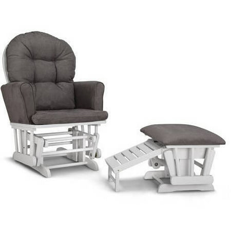 - Graco Parker Semi-Upholstered Glider and Ottoman White with Gray Cushions