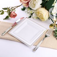 Efavormart 20 Pack White Disposable Plates Square Plastic Plates Salad Dessert Plates With Shiny Gold Rim for Wedding Party Banquet