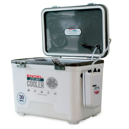 - Engel 30 Quart Hard Sided Live Bait Fishing Dry Box Cooler with Pull Net, White