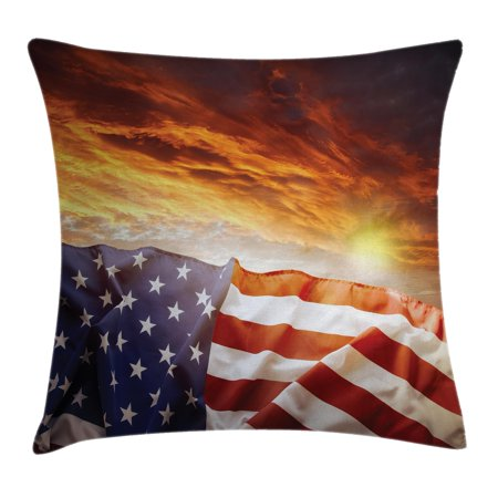 American Flag Decor Throw Pillow Cushion Cover, Flag in front of Sunset Sky with Horizon Light America Union Idyllic Photo, Decorative Square Accent Pillow Case, 16 X 16 Inches, Multi, by Ambesonne (Multi Directional Accent Light)