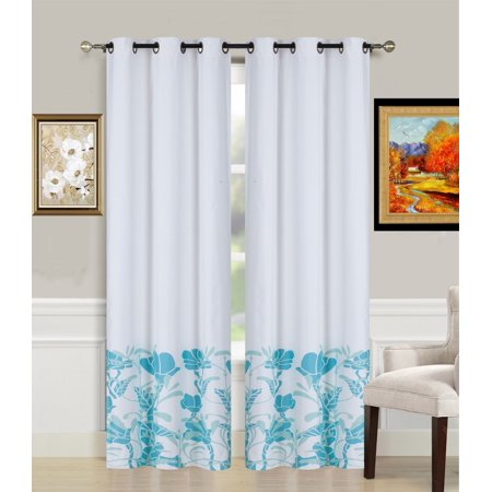 2-Piece ER2 TEAL Printed Lined Blackout Grommet Window Curtain Treatment, Set of Two (2) Floral Pattern Room Darkening Panels 37