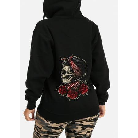 Womens Juniors Graphic Print Floral Skull Chic Long Sleeve Zip Up Black Sweatshirt Hoodie Sweater 30362S