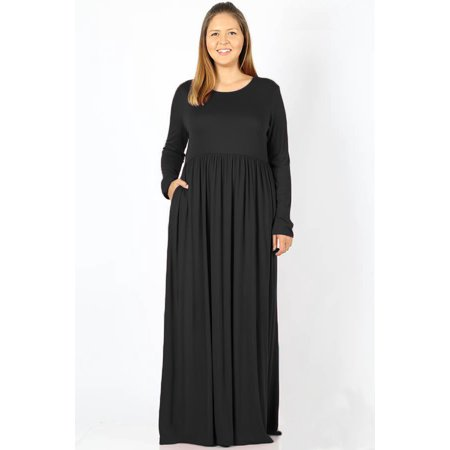 JED FASHION Women\'s Plus Size Long Sleeve Solid Stretchy Knit Maxi Dress
